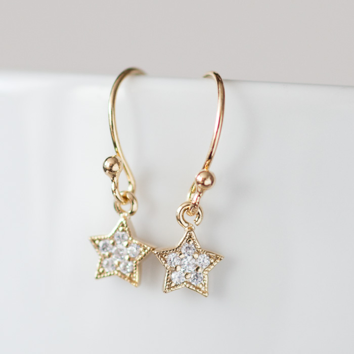 Cubic Zirconia Star Dangle Earrings In Gold
