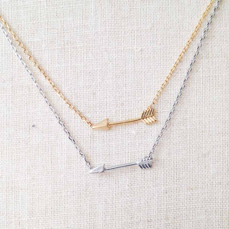 arrow gold details white sideways necklace inch index karat